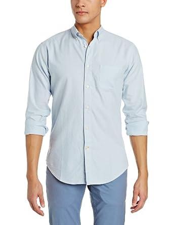 Haggar Men's Life Khaki Classic Solid Buttondown Oxford Long Sleeve Slim Fit Woven Shirt, Light Blue, Small