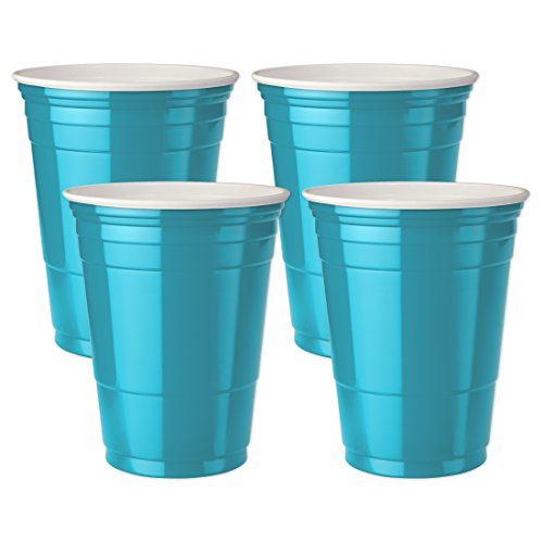 Mr. Ice Bucket Double Walled Insulated Party Cups, 16-Ounce, Turquoise