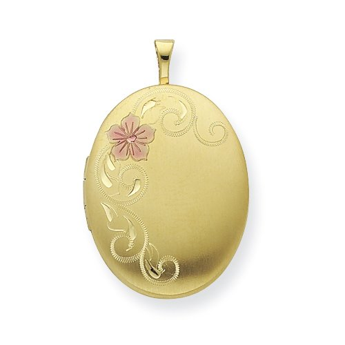Gold Plated Sterling Silver 20mm Satin Floral Locket
