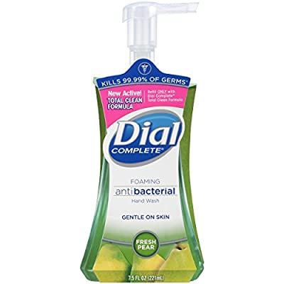 Dial Complete Foaming Antibacterial Hand Wash, Fresh Pear, 7.5 Ounce (Pack of 8)