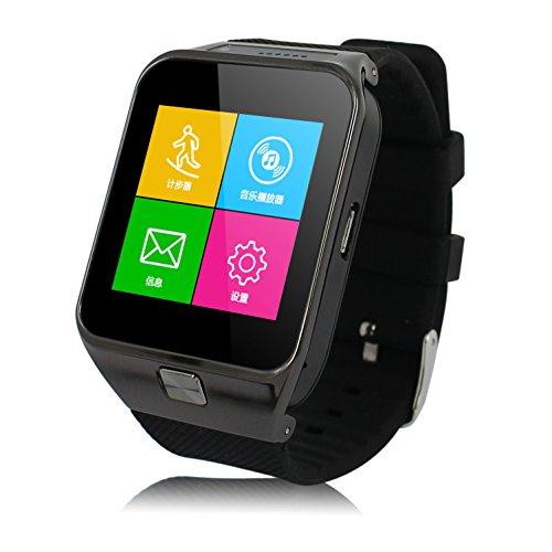 AirsspuTM Bluetooth Smart Watch Wristwatch Phone with Camera Touch Screen for IOS Iphone Android Smartphone Mate for Samsung (Black)