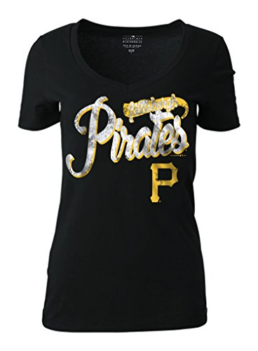 MLB Pittsburgh Pirates Women's Short Sleeve Cotton V-Neck Tee, Black, Small