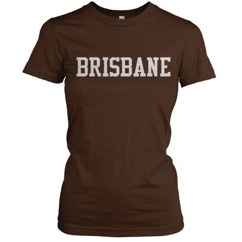 Brisbane Collegiate Ladies Fine Jersey T-Shirt (White), Brown, 2XL