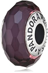 PANDORA Murano Glass Fascinating Purple Charm with Sterling Core Charm 791071