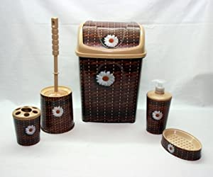 Dunya plastik brown 6 pc bathroom accessory set tumbler for Bathroom bin set