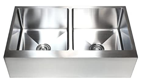 36 Inch Stainless Steel Flat Front Farmhouse Apron Kitchen Sink 50/50 Double Bowl 15mm Radius Design 16 Gauge