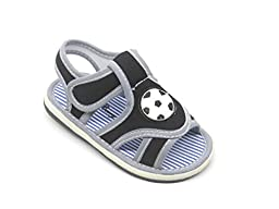EASY21 Cute Open Toe Infant Toddler Boys Summer Sandal with Velcro Baby-301,Black,Size 2
