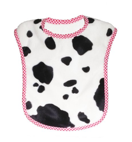 Patricia Ann Designs Reversible Bib, Cow With Vanilla Fleece And Red Check Trim
