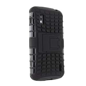 Cruzerlite Kick Stand Armor Hybrid Bumper Design Case Cover for LG Nexus 4 E960 Black