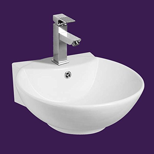 "Sale!! White Wall-Mount Vessel Sink ""Oasis"" Compact Easy Clean And Install Scratch And Sta..."