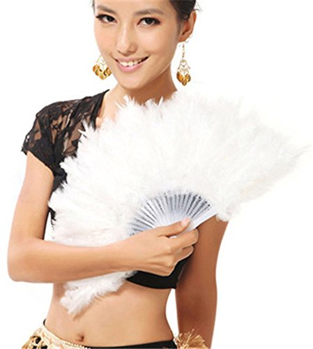 BleuMoo Soft Fluffy Lady Burlesque Wedding Hand Fancy Dress Costume Dance Feather Fan (White) (Feather Fans compare prices)