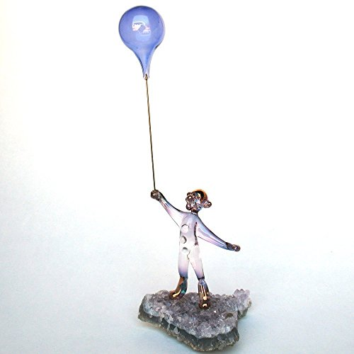 Clown and Balloons Figurine of Hand Blown Glass on Amethyst Crystals (Violet The Clown)