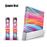 MightySkins Skin Decal Cover for Nintendo Wii Console + two Wiimote Controllers Sticker- Rainbow Wave (Color: Rainbow Wave, Tamaño: Nintendo Wii + Wiimotes Benjamins)