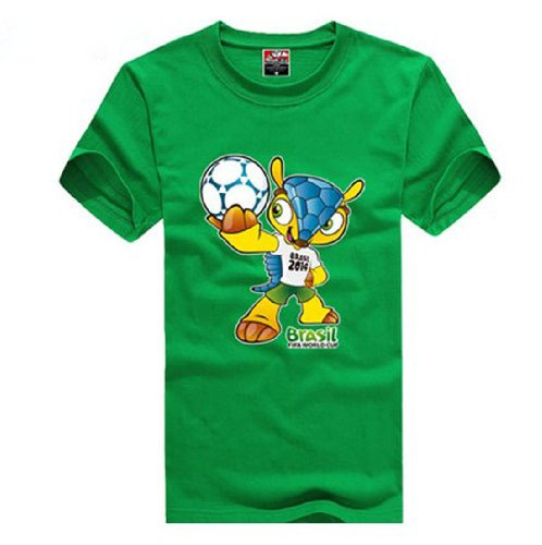 2014 Fifa World Cup Brazil Mascot Armadillo Women Men Short T-Shirt, Medium,Green