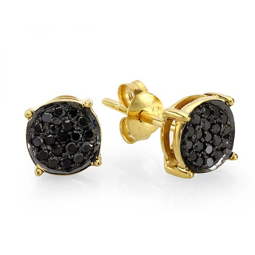 0.25 Carat (ctw) 18K Gold Plated Sterling Silver Round Black Diamond Ladies Stud Earrings 1/4 CT