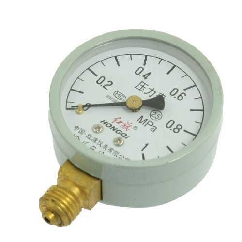 "1/4"" Male Thread Horizontal Pneumatic Pressure Gauge 0-1.0 Mpa front-950788"