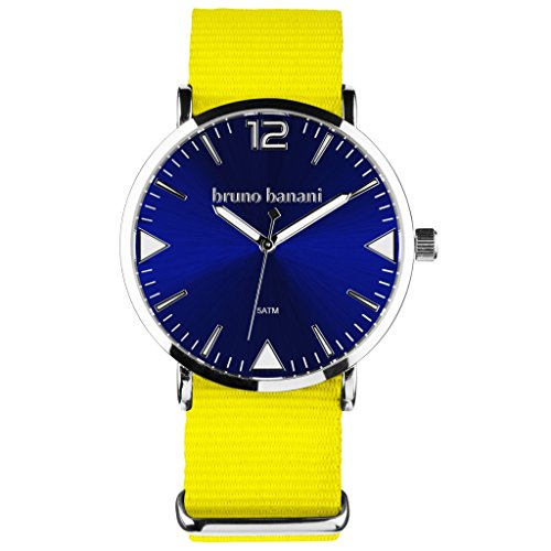 Bruno Banani BR30059Cool Colour Unisex Analogue Watch Fabric Strap / Metal 50m Yellow