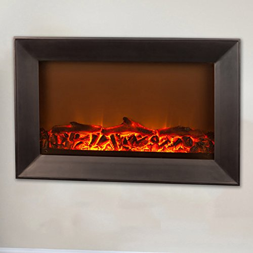 Fire Sense Black Wood Wall Mounted Electric Fireplace Home Garden Fireplaces Indoor Fireplaces