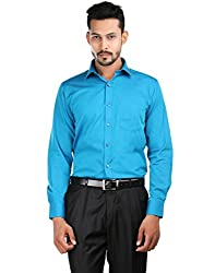Oxemberg Men's Self Design Formal 100% Cotton Teal Shirt