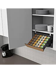 Mind Reader UCBRD-BLK Slider Under Cupboard In Cupboard Coffee Pod Storage Drawer, Black with Cork Front by Mind Reader