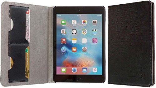 3Q Lussuosa Custodia iPad 4 Mini 4 Vera Pelle Novità maggio 2016 iPad 4 Cover in Vero Cuoio Porta Tablet con Top Design Esclusivo Svizzero Nero
