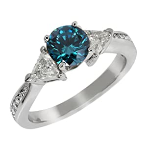 3.63 Ct Round Blue and G/H Diamond 925 Sterling Silver Engagement Ring
