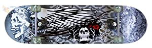 "31"" Pro Trick Skateboard Childrens Kids Teen Pro Skate Board Outdoor 3 Designs Skull 13 Casino or Wings (Wings)"