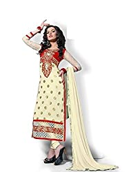 Decent World Cream Georgette Designer Dress Material