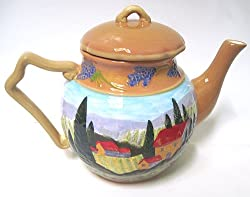 Bella Casa Tuscan Countryside Raised ceramic TEAPOT