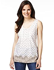 Pure Cotton Tile Print Vest Top