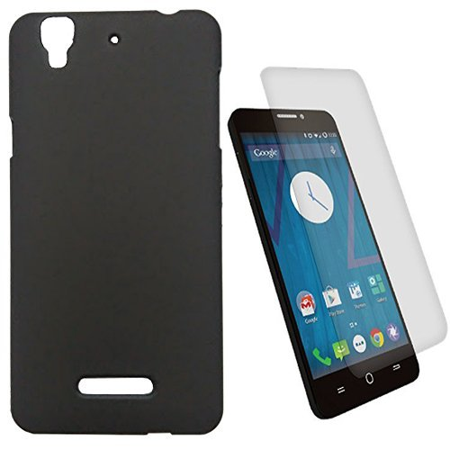 SDO Luxury Matte Finish Rubberised Slim Hard Case Back Cover for Micromax YU Yureka Plus - Black with Clear Screen Guard  available at amazon for Rs.175