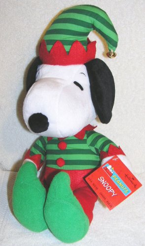 "Peanuts 18"" Plush Christmas Snoopy Dressed as Elf with Jingle Bell on Hat"