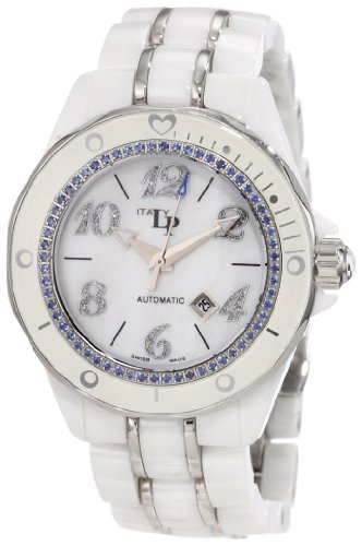 Lucien Piccard Women's 27114WH Celano Automatic Blue Sapphire Accented White Mother-Of-Pearl Dial White Ceramic Watch