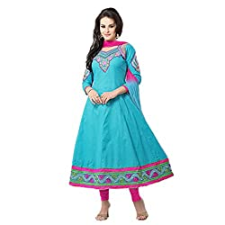 Parabdhani Fashion Women's Cotton Semi Stitched Suit (PBF_DM_97_Sky Blue _Free Size)