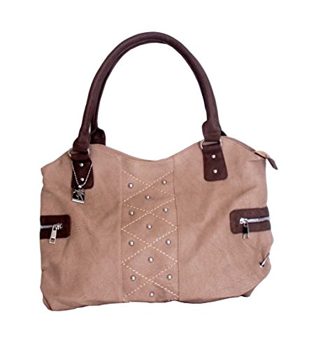 Trezo Tan Handbag with Studs & Dark Brown Trim