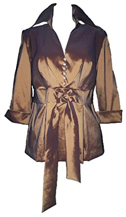 R & M Richards Bronze Formal Blouse Metallic Brown with Jeweled Buttons Size 18W