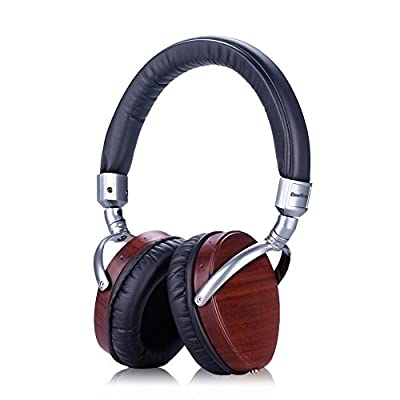 BearBizz Genuine Wood Heavy Bass Stereo Music DJ Heaphones, with Adjustable Headband and Detachable TPE Cable - For iPhone, iPod Touch, iPad, Samsung Galaxy, all smartphones and tablets