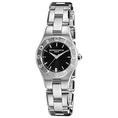 Baume & Mercier Women's 10010 Linea Black Dial Stainless Steel Watch