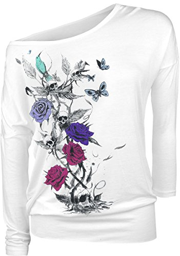 Full Volume by EMP Skulls And Butterflies Manica lunga donna bianco XL