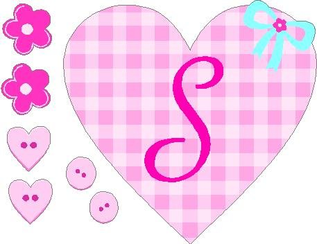 Cute Pink Plaid Monogram Letter Girls Removable / Repositional Peel And Stick Vinyl Sticker Wall Art (Letter S) front-1031003