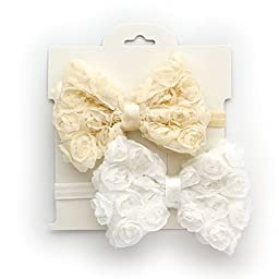 My Lello 2 Pack Infant Baby Mixed Colors Fabric Rose Bow Headbands (Ivory/White)