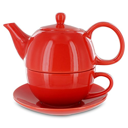 Tea for One Red Gloss Finish - English Tea Store Brand (English Teapot For One compare prices)