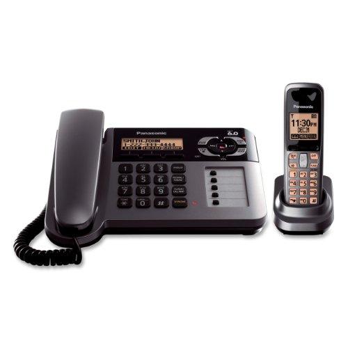 Panasonic Kx-Tg1061M Cordless/Corded Phone With Answering Machine, Metallic Grey