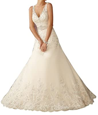 Jeen wedding dress designer a line crystal for Amazon designer wedding dresses