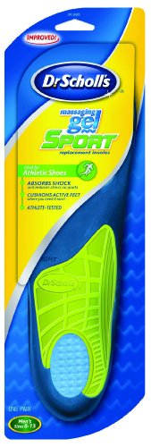 Dr. Scholl's Massaging Gel Sport Insoles, Men's Size 8-13, 1-Pair Packages (Pack of 2)