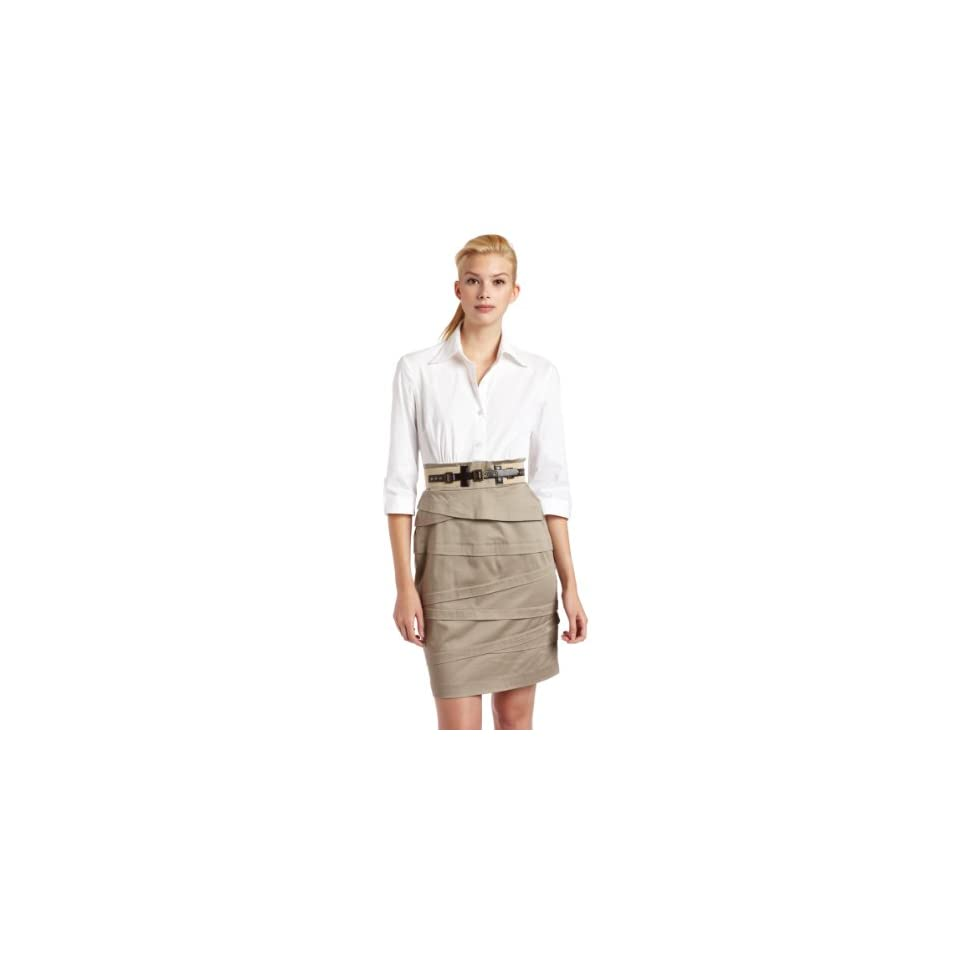 Jessica Howard Womens Belted Shirt Dress, White Khaki, 16