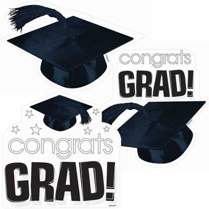 Congrats Grad White Cutouts 3ct