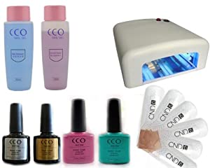 CCO UV NAIL GEL Soak Off Kit with 10 CND Shellac Remover Wraps Professional Polish coat 36W light Kit Lamp set included Top Coat, Base Coat, Cleanser, Remover and 4 Colours