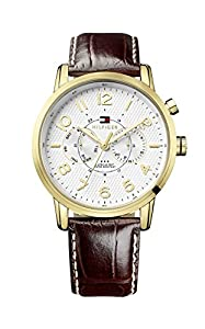 Tommy Hilfiger Calan Men's Quartz Watch with Silver Dial Analogue Display and Brown Leather Strap 1791082