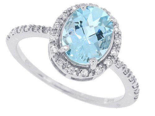 1.31Ct Oval Aquamarine and Diamond Ring in 14Kt White Gold